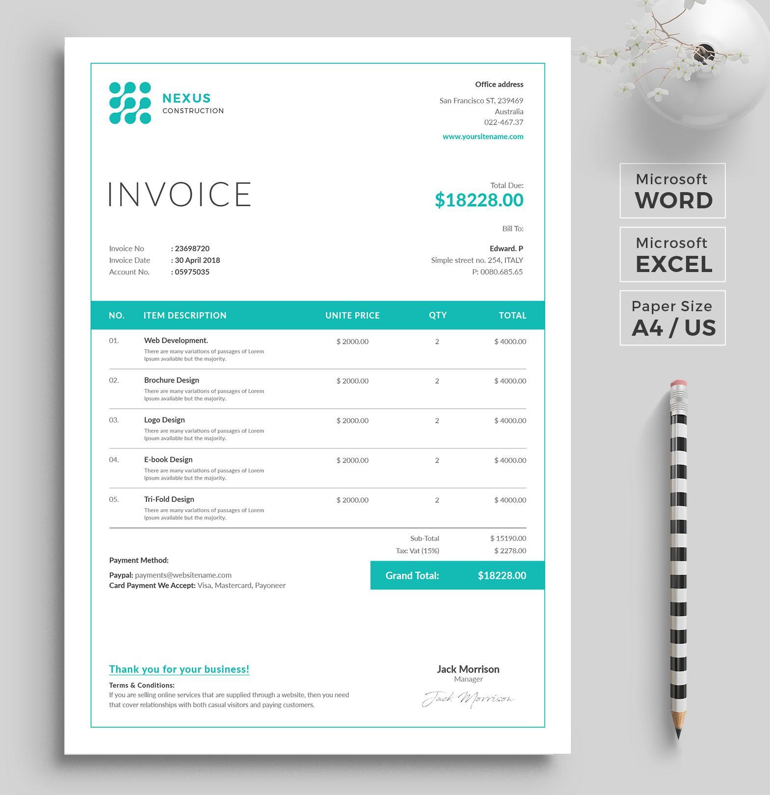 Invoice Template Invoice Design Ms Excel Auto Calculation Etsy Invoice Design Invoice Template Photography Invoice