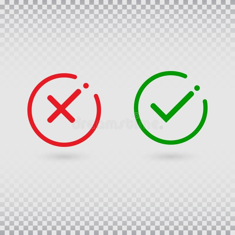 Cancel Decline Check Marks Set On Transparent Background Yes Or No Accept And Spon Transparent Set Accep Transparent Background Red Cross Background