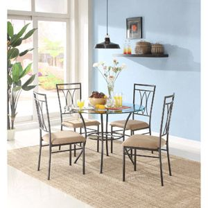 Mainstays 5 Pc Metal And Glass Dining Set Table And 4 Chairs