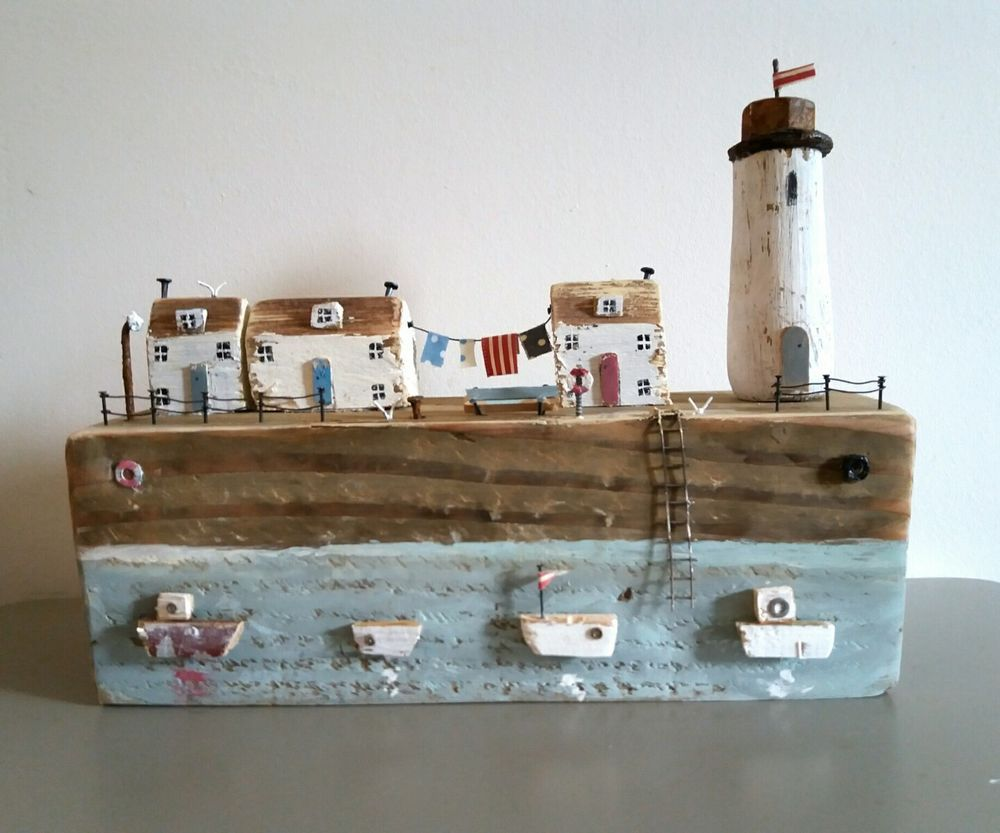 Nautical gifts for the home - Handmade driftwood lighthouse cottage sculpture rustic ornament nautical gift in home furniture diy