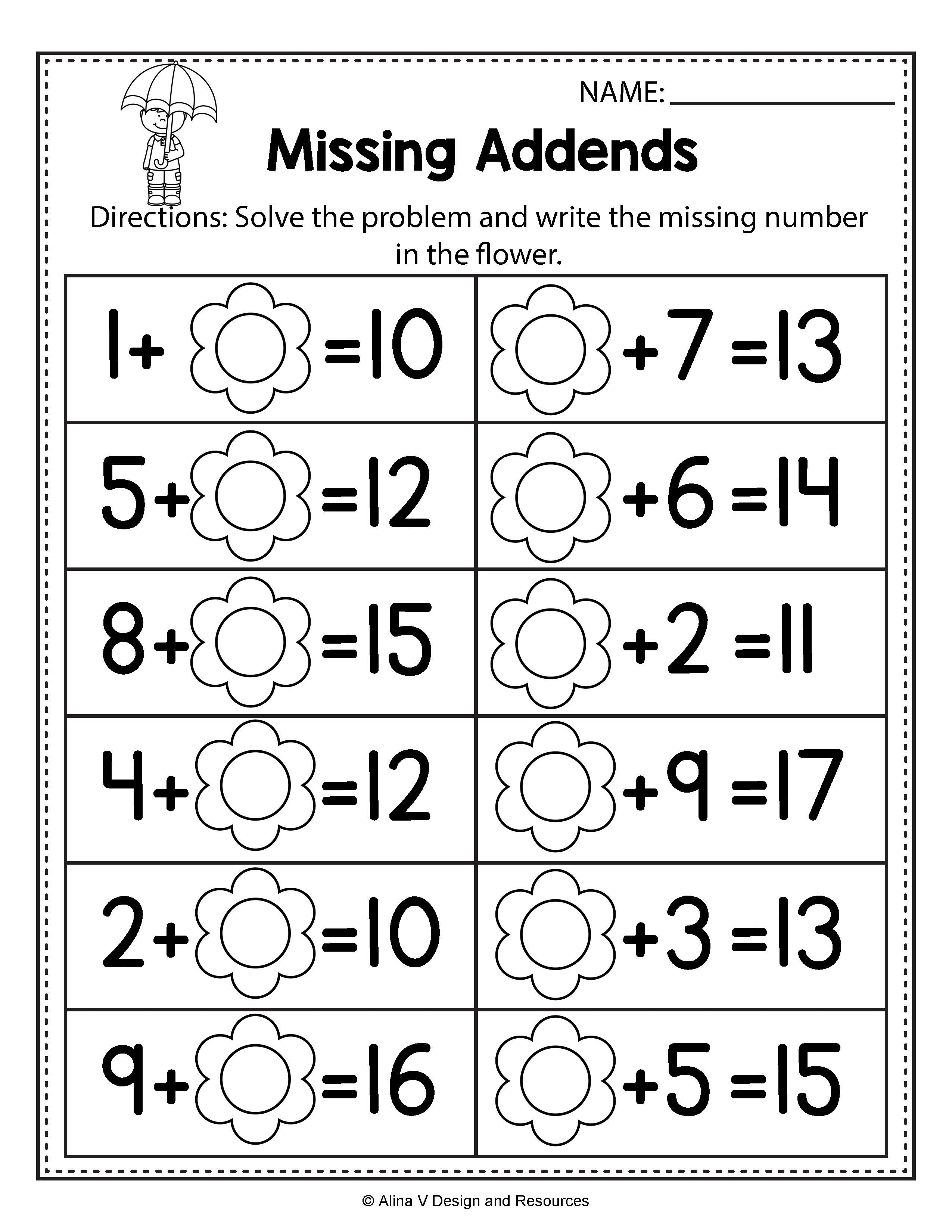 First Grade Missing Addend Worksheets Refrence Unique Free Missing   Spring  math worksheets [ 3300 x 2550 Pixel ]