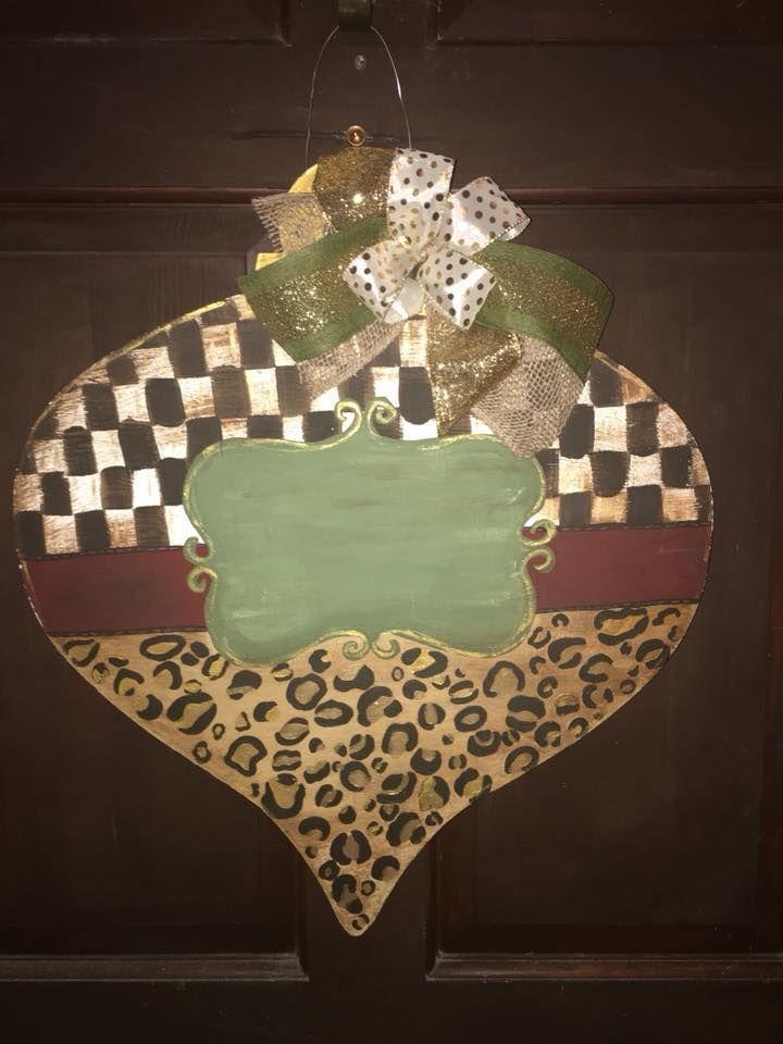 Mackenzie Childs Inspired Leopard Print Christmas Door Hanger Mackenzie Childs Inspired