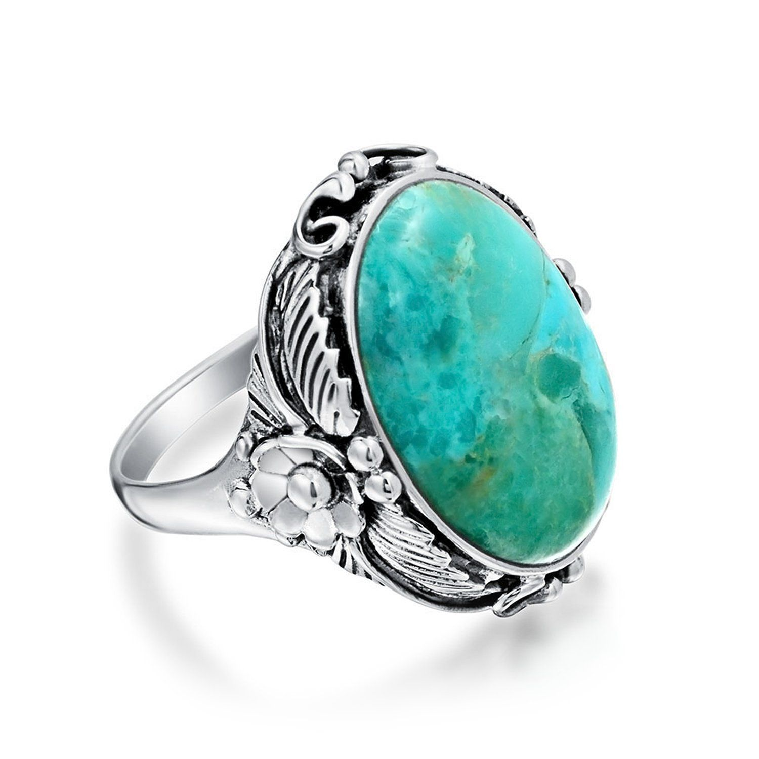 Bright Blue Turquoise and Sterling Silver Native American Vintage Oval Ring
