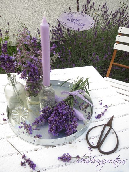 lavender Lavendel Tablett Glas glass table decoration ...
