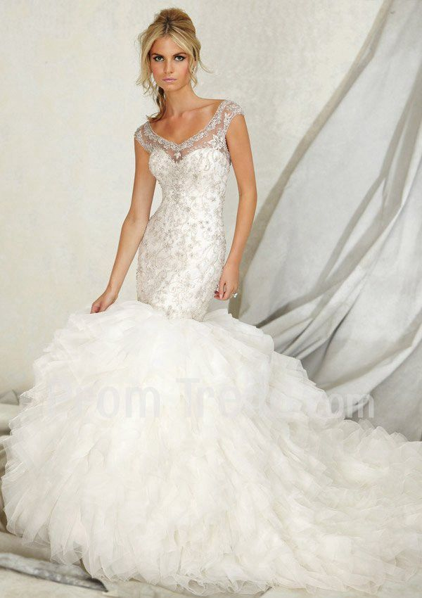 Mermaid Illusion Sweetheart Cathedral Train Organza Wedding Dress For Bride - Promtrend.com