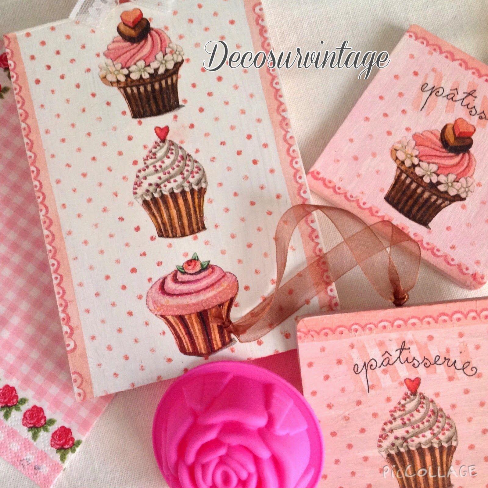 Decosurvintage : Cup cakes en tabla y posavasos.