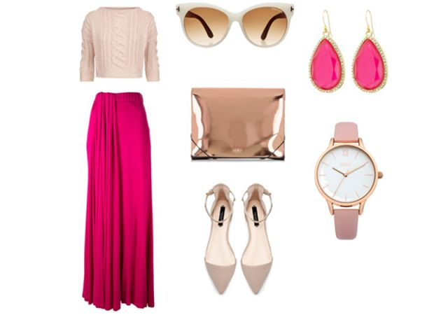 Pink and gold  outfit