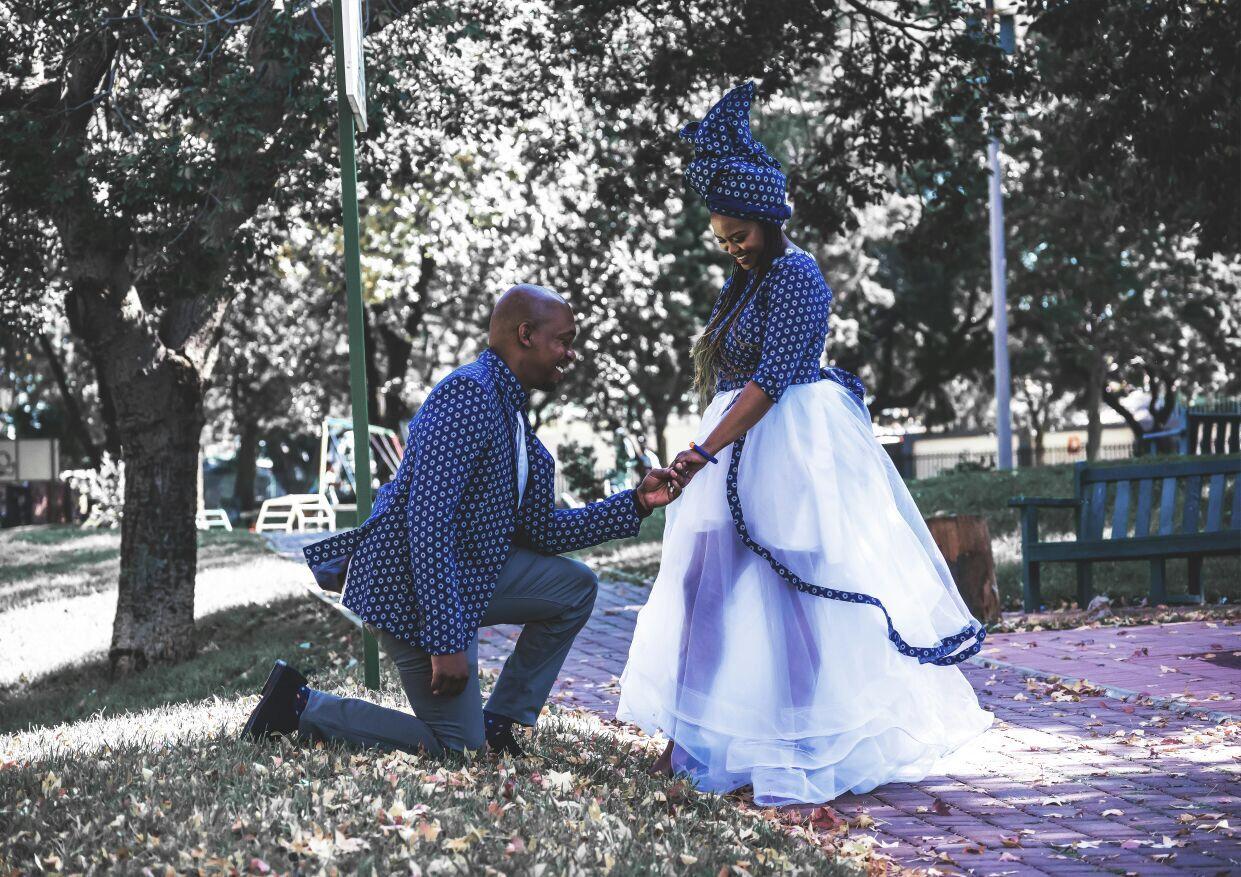 Shweshwe Wedding Bride And Groom Shoeshoe Wedding Dress
