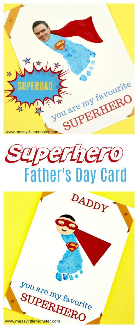 Printable Superhero Father's Day Card to make for Superdad is part of Fathers day art, Dad crafts, Fathers day cards, Dad cards, Diy father's day gifts, Fathers day crafts - Free printable Superhero Father's Day card template  Make a superhero dad card as a first fathers day card with baby or as a toddler or preschoolers fathers day craft for a superdad
