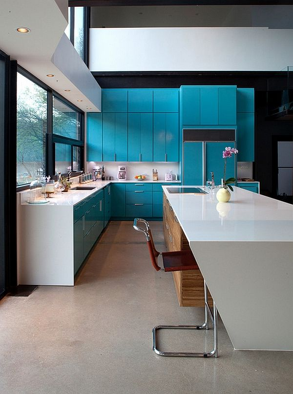 Captivating Use Of Blue Kitchen Cabinets In The Contemporary Awesome Contemporary Kitchen Cabinets Design Inspiration