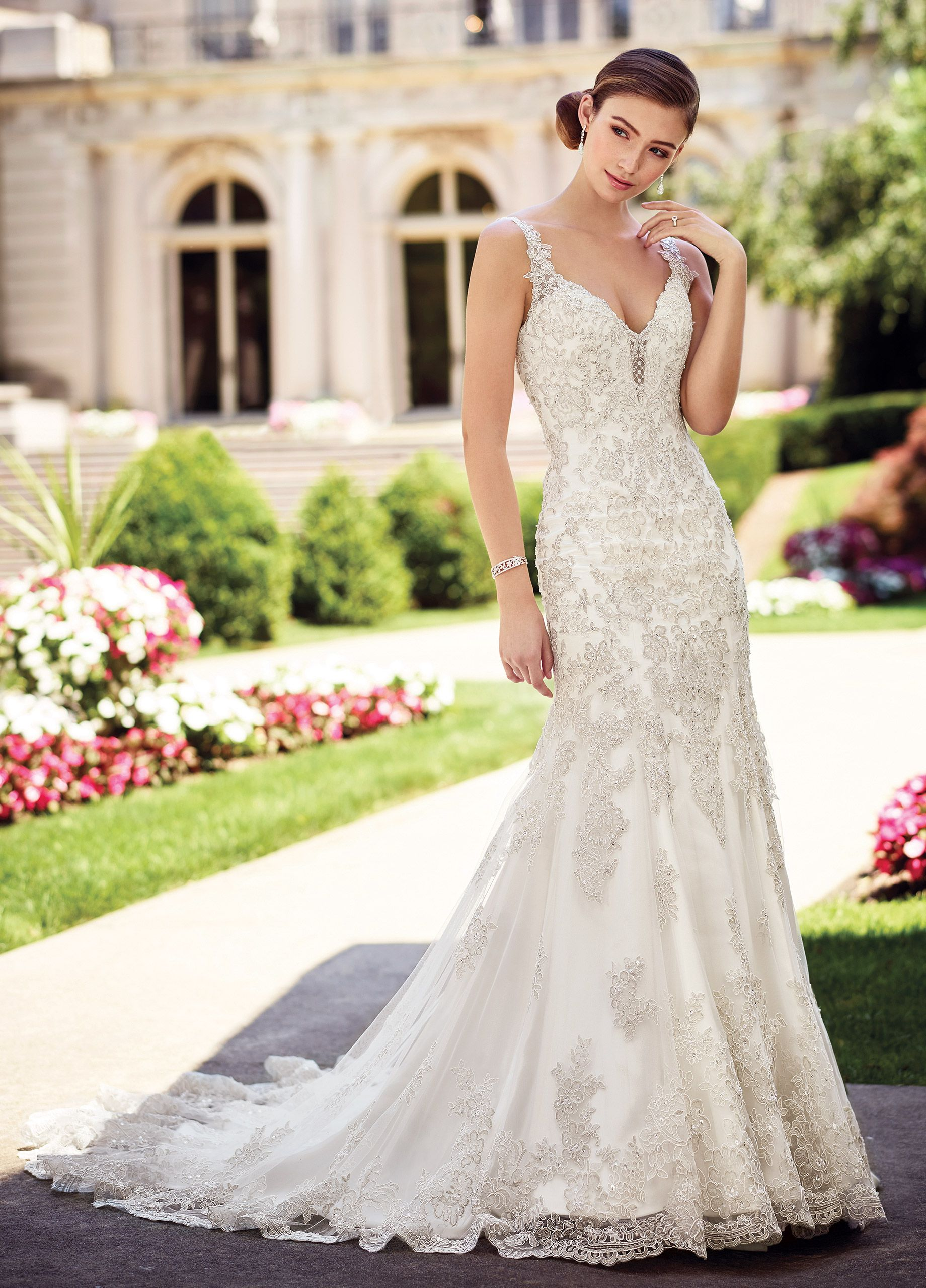 Fitted metallic lace on tulle wedding dress chrisann