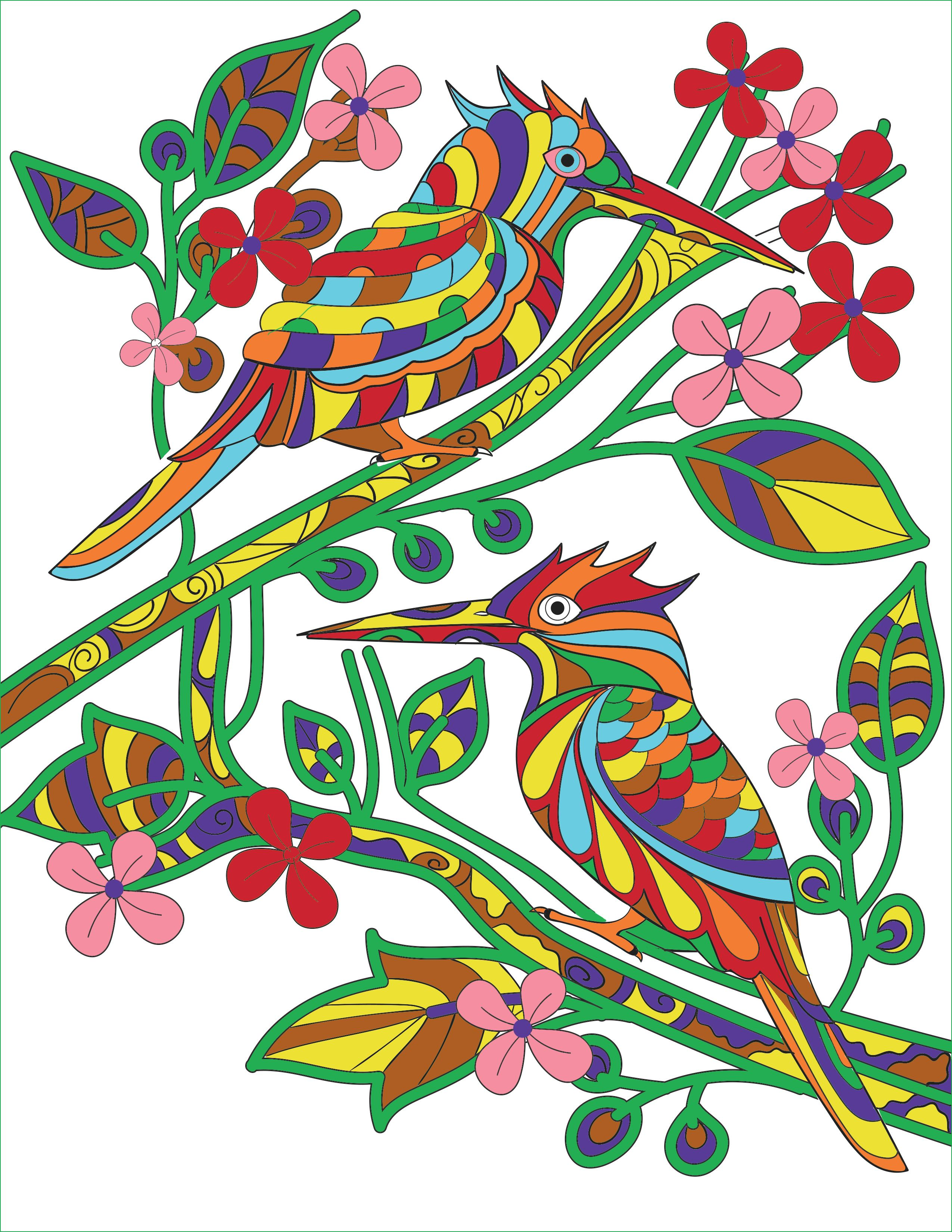 Two birds from SCENERY - An Adult Coloring Book | Creatively Calm ...