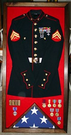 Left Wall Next To The Door I Want My Marine Uniform My Study Our Bedroom Military Shadow Box Military Decor Shadow Box