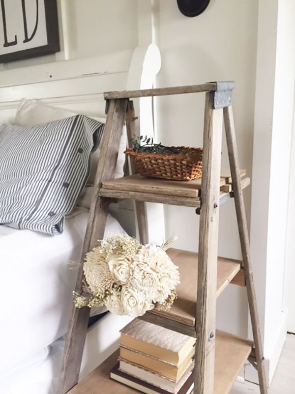 DIY Ladder Nightstand