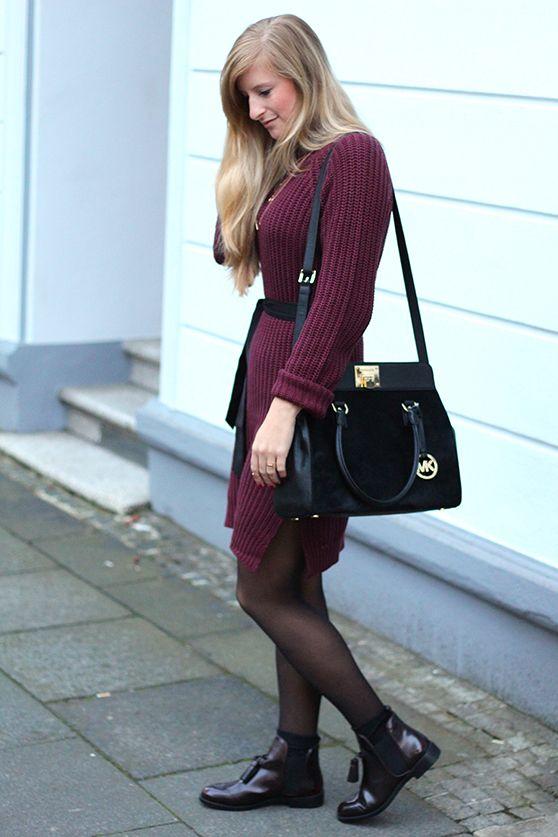 02a1ab33a7cc Wollkleid Herbst Outfit mit flachen Stiefeletten   WINTERFASHION ...