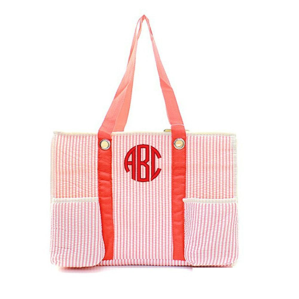 """Red Seersucker Personalized 15"""" Pocket Organizing Beach Diaper Tote Bag Quilted"""