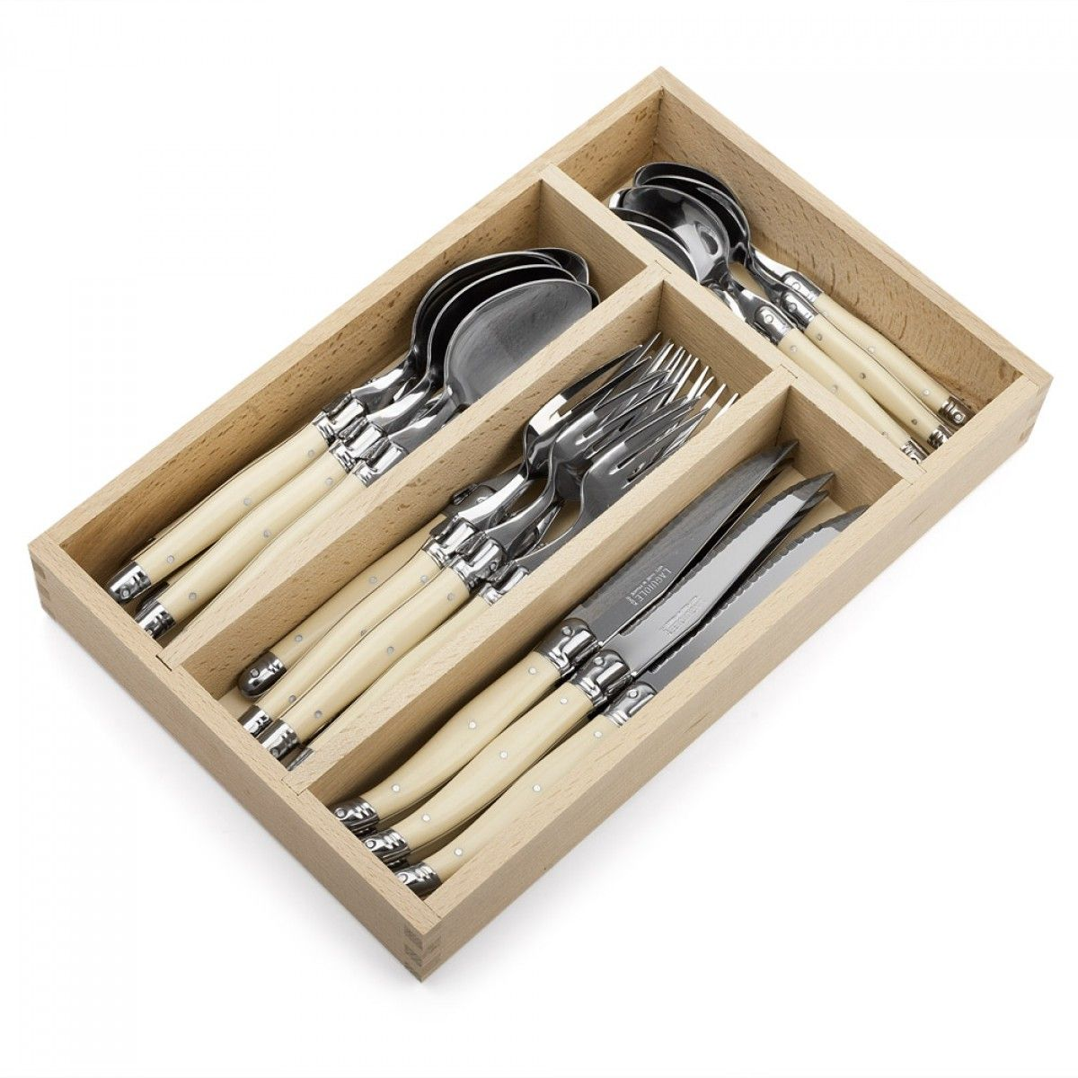 Laguiole Andre Verdier Debutant Polished Cutlery Set Ivory  - 24 Piece  For $160.95 | Kitchenware Superstore
