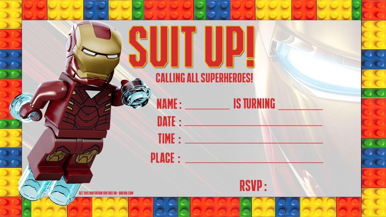 Free Iron Man Lego Invitation Template  DREVIO  Lego invitations