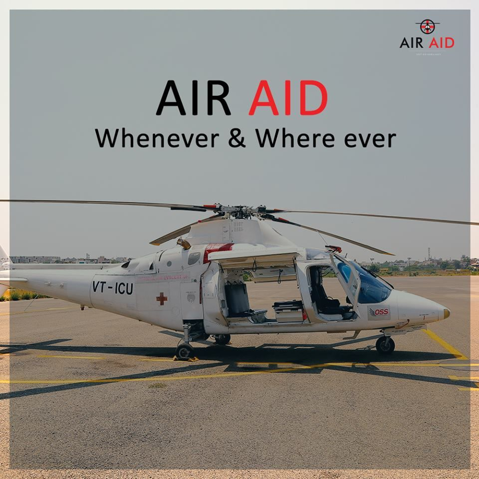 Air Aid offers helicopter ambulance service in case of