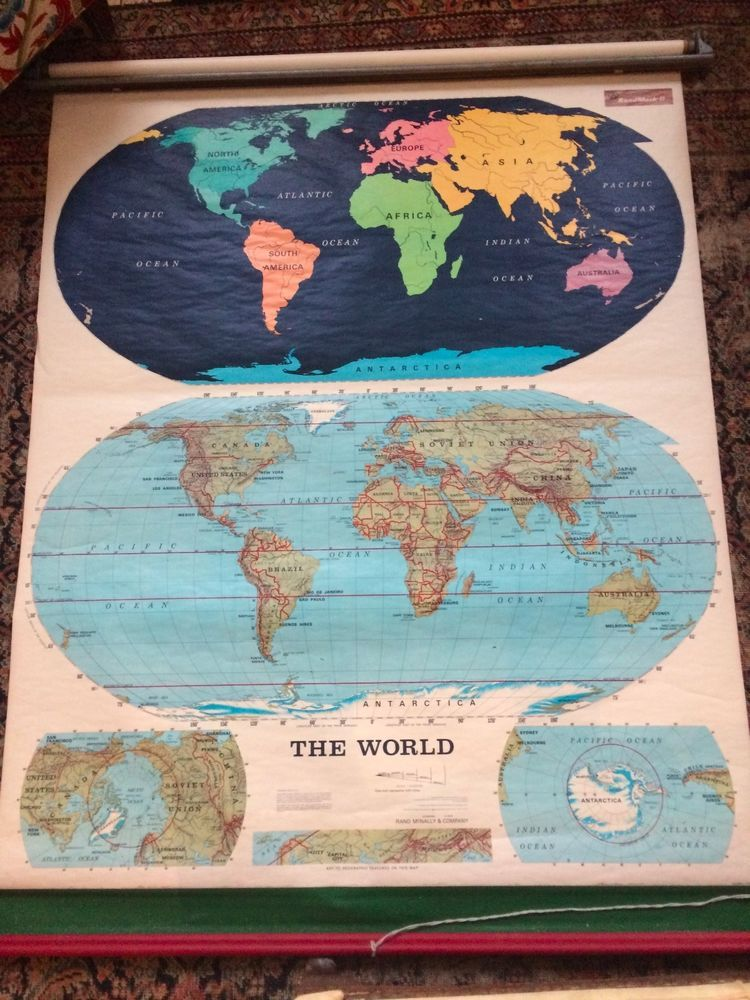 Unique vintage rand mcnally pull down map of the world 1966 unique vintage rand mcnally pull down map of the world 1966 antiques maps gumiabroncs Image collections