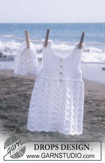 """DROPS hue og kjole uden ærmer i """"Safran"""". ~ DROPS Design"""