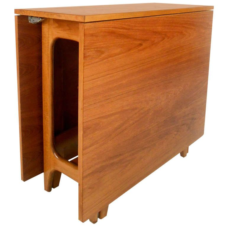 Vintage Mid Century Modern Danish Teak Drop Leaf Table From A