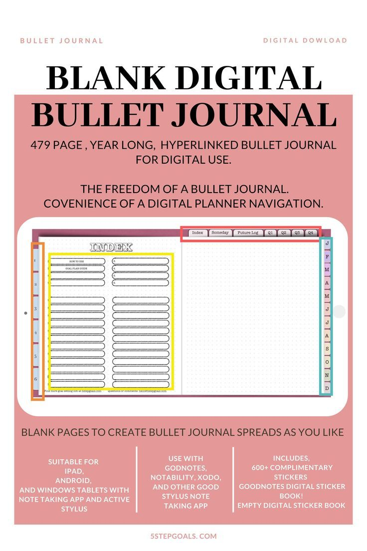 #bulletjournal.  #digitalplanners  #digitalplanner  #dailyplanner #Digital #Notebook  This Digital Notebook is a bullet journal for your tablet that combines the convenience of a digital planner with the freedom of a