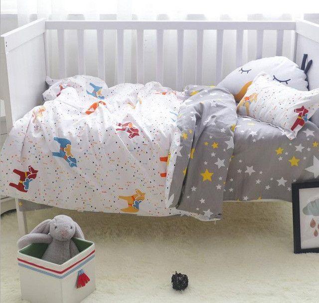 3Pcs/ Sets Cotton Baby Bedding Sets Custom Made Cartoon Printing Baby Bed  Cot Sheet No