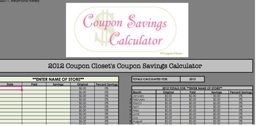 2 free coupon savings tracker spreadsheets