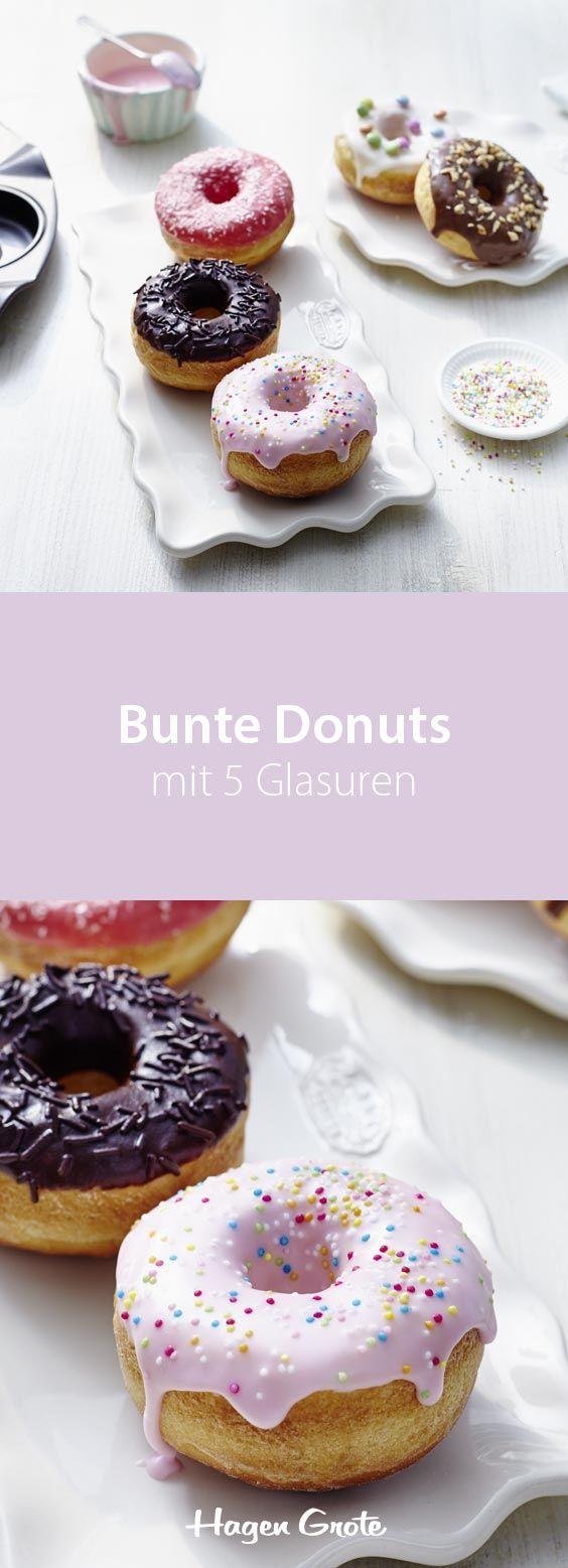Bunte Donuts mit 5 Glasuren