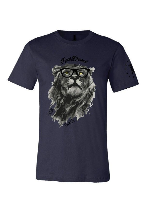 Real Blessed Mens Born Leader Lion Graphic Tee - T Shirt