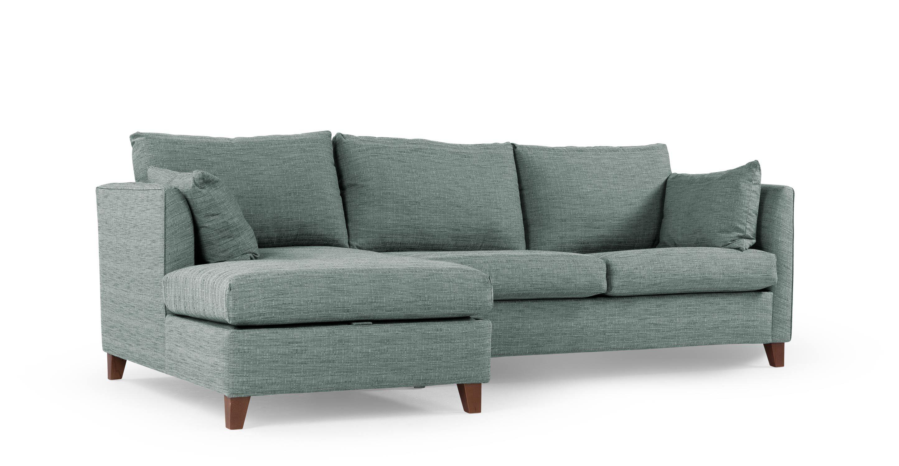 Bari Left Hand Facing Corner Storage Sofa Bed, Malva Denim