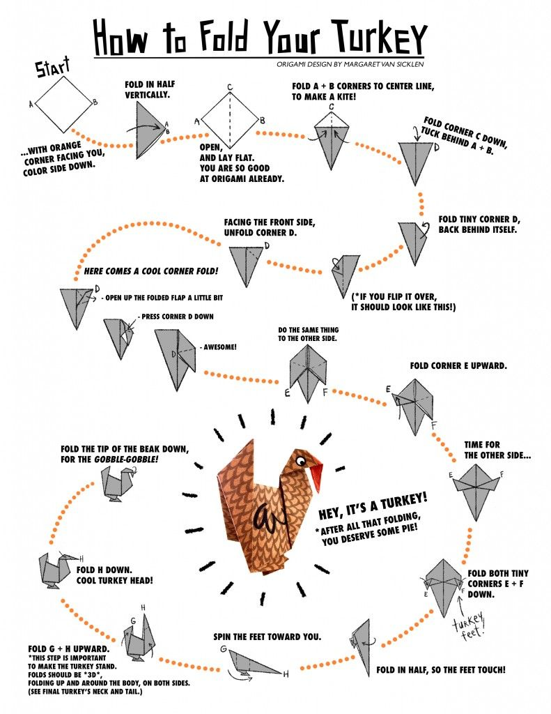 origami turkey instructions kids holiday crafts and