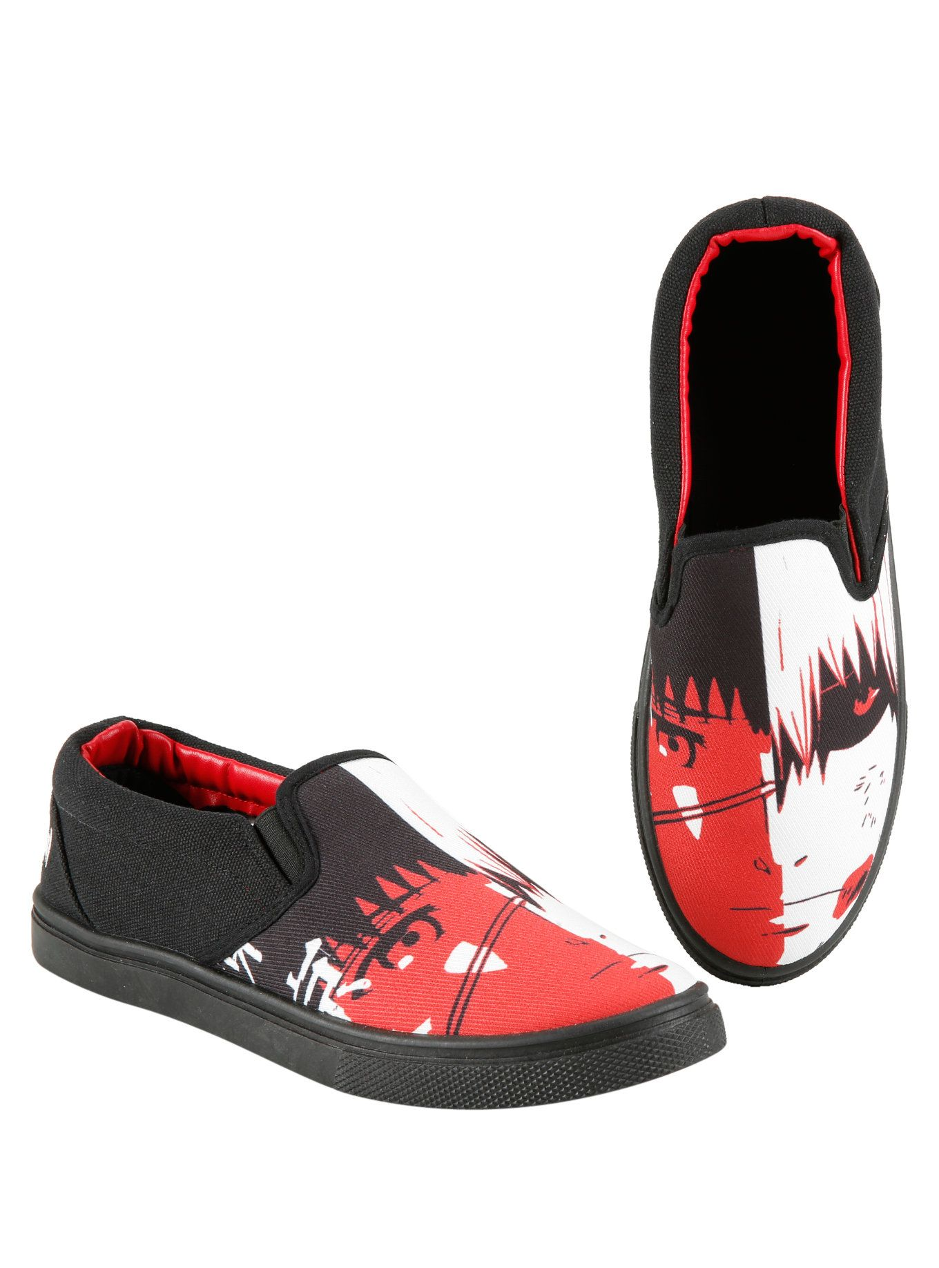 Black slip-on sneakers from Tokyo Ghoul with red, white and black images of Ken  Kaneki on the toes. Man-made materials Imported Listed in men's sizes