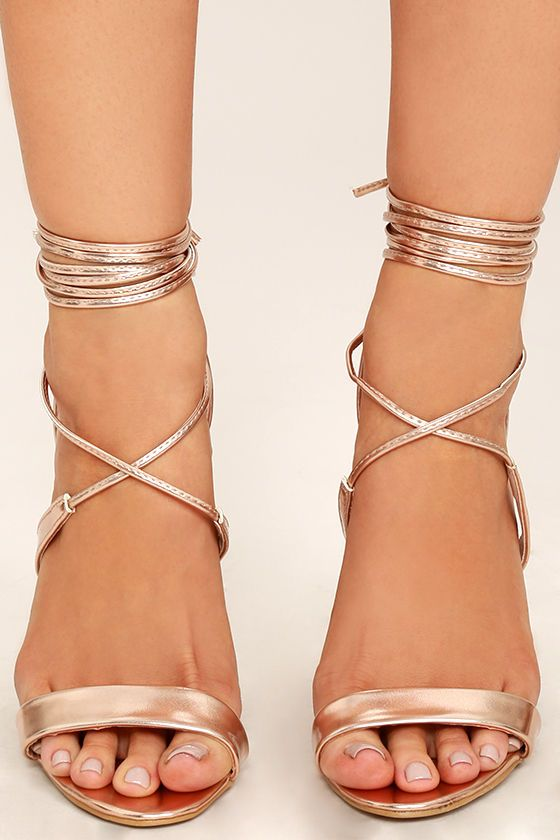 4fe1ce54971 The Glamorous Top of the Class Rose Gold Lace-Up Heels have earned our vote
