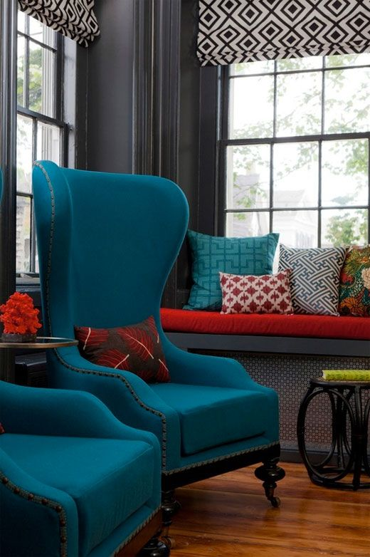 Deep & Bright: 10 Ways with Red & Teal | Teal living rooms, Room ...