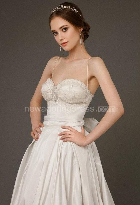 Spaghetti Strap A-Line Taffeta Wedding Dress With Corset Top ...