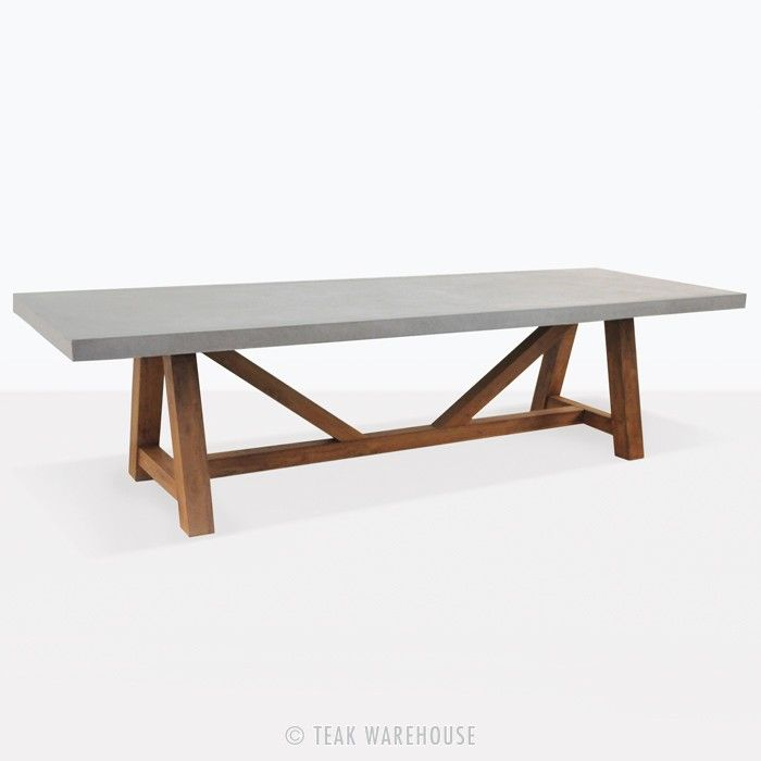Teak Warehouse Raw Concrete Trestle Tables Concrete Dining