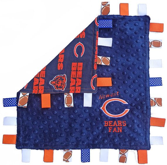 Chicago Bears tag blanket. Bears colors in by HeartFeltGiftz, $27.99