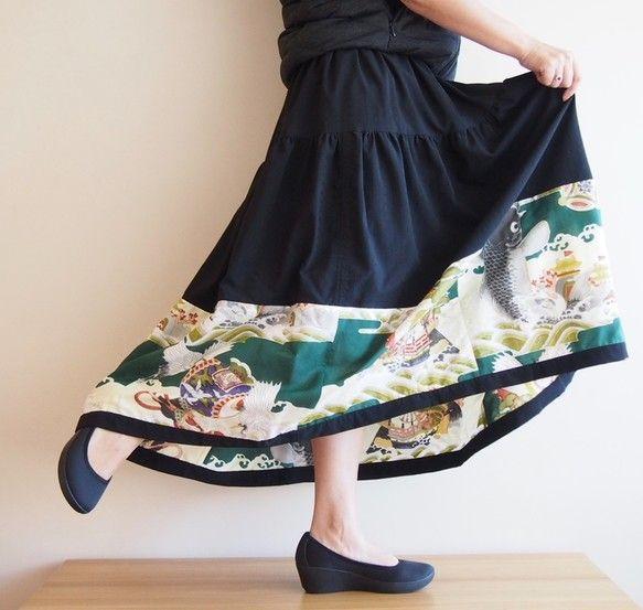 《受注製作》ビンテージの着物地を使ったフレアスカート -ロング 男児柄|スカート|RikaShioya|ハンドメイド通販・販売のCreema