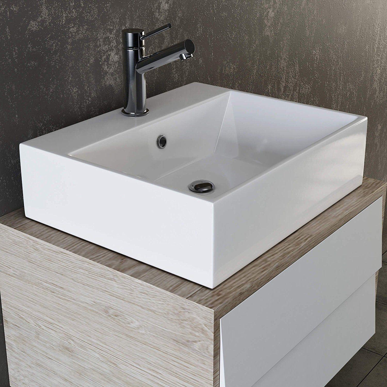 Aufsatzwaschbecken Waschbecken Terrazzo Schwarz Badezimmer Rund 40