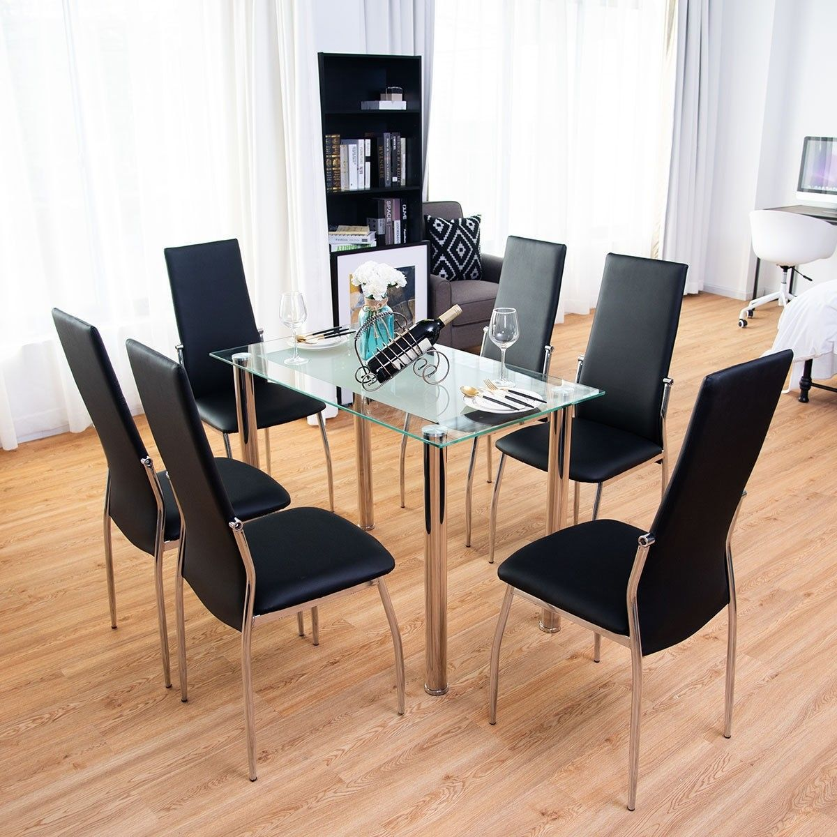 7 Pcs Dining Set Tempered Glass Top Table 6 Chairs Modern