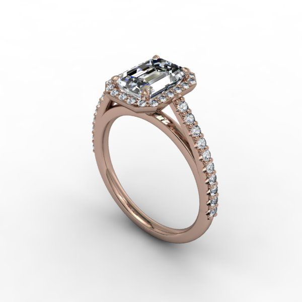 Engagement Ring Rose Gold Emerald Cut Diamond 25