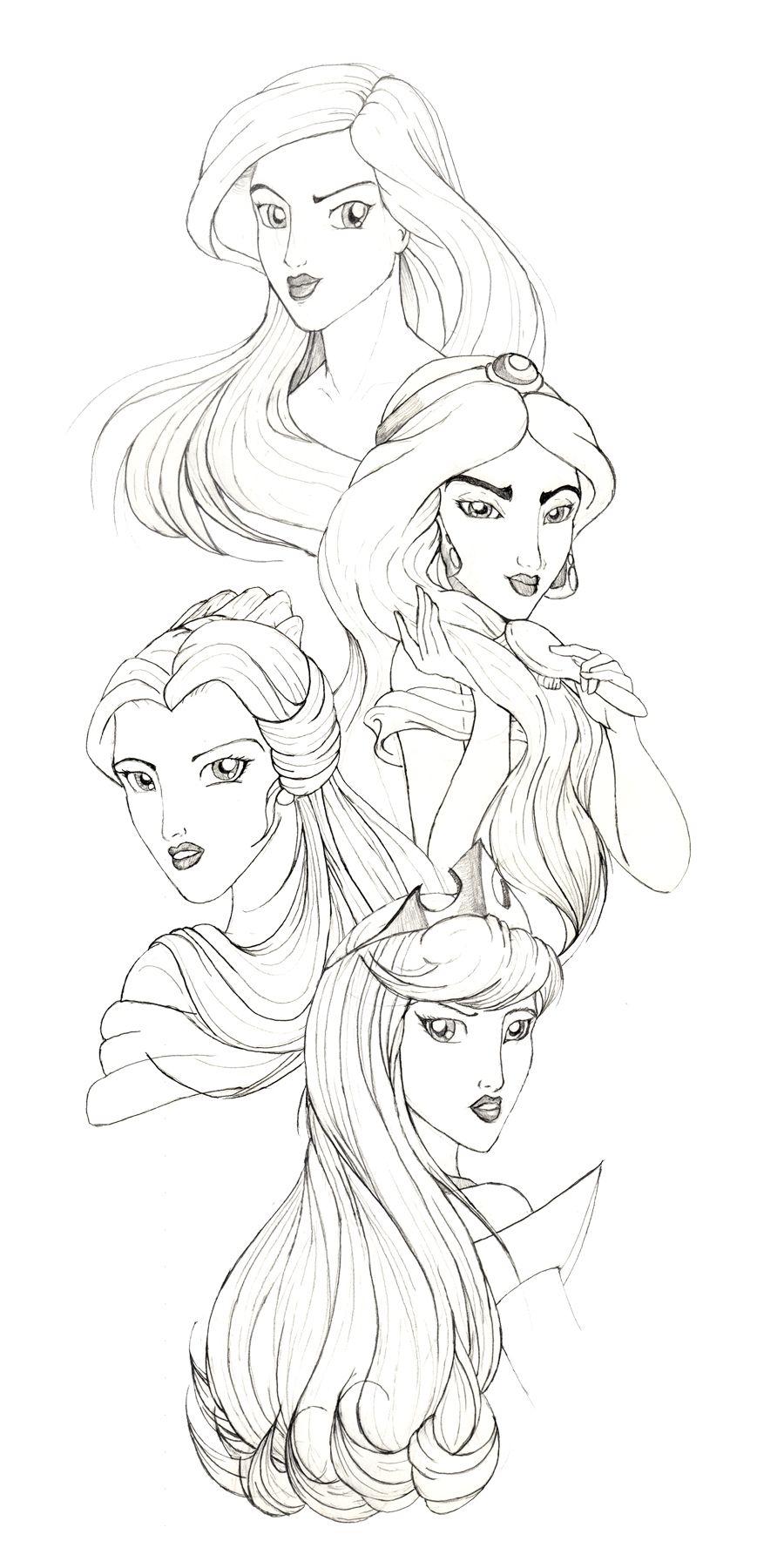 All disney princess together coloring pages - Disney Drawings Disney Princesses By Racookie3 Fan Art Traditional Art Drawings Movies