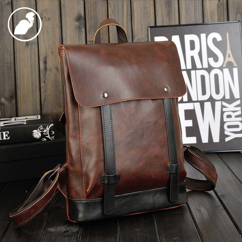 fe36d6ec03 ETONWEAG New 2017 men famous brands cow leather brown zipper hasp medium  preppy style backpacks laptop bag
