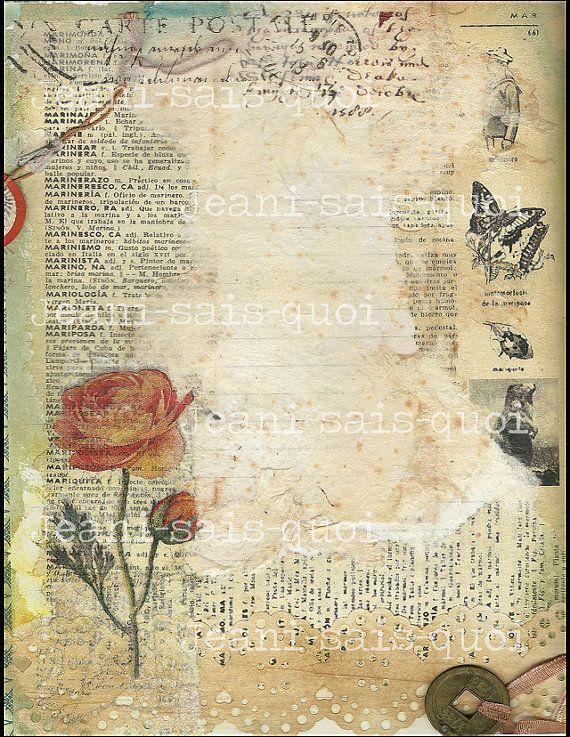 Items Similar To Art Journal Digital Collage Sheet Download Scrapbook Card Making Supplies On Etsy Vintage Paper Digital Collage Sheets Collage Sheet