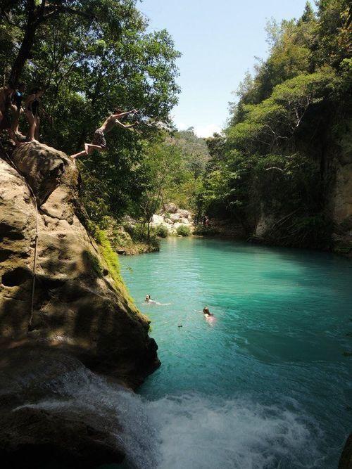 385  A waterfall in Jacmel, Haiti, Bassin Bleu.