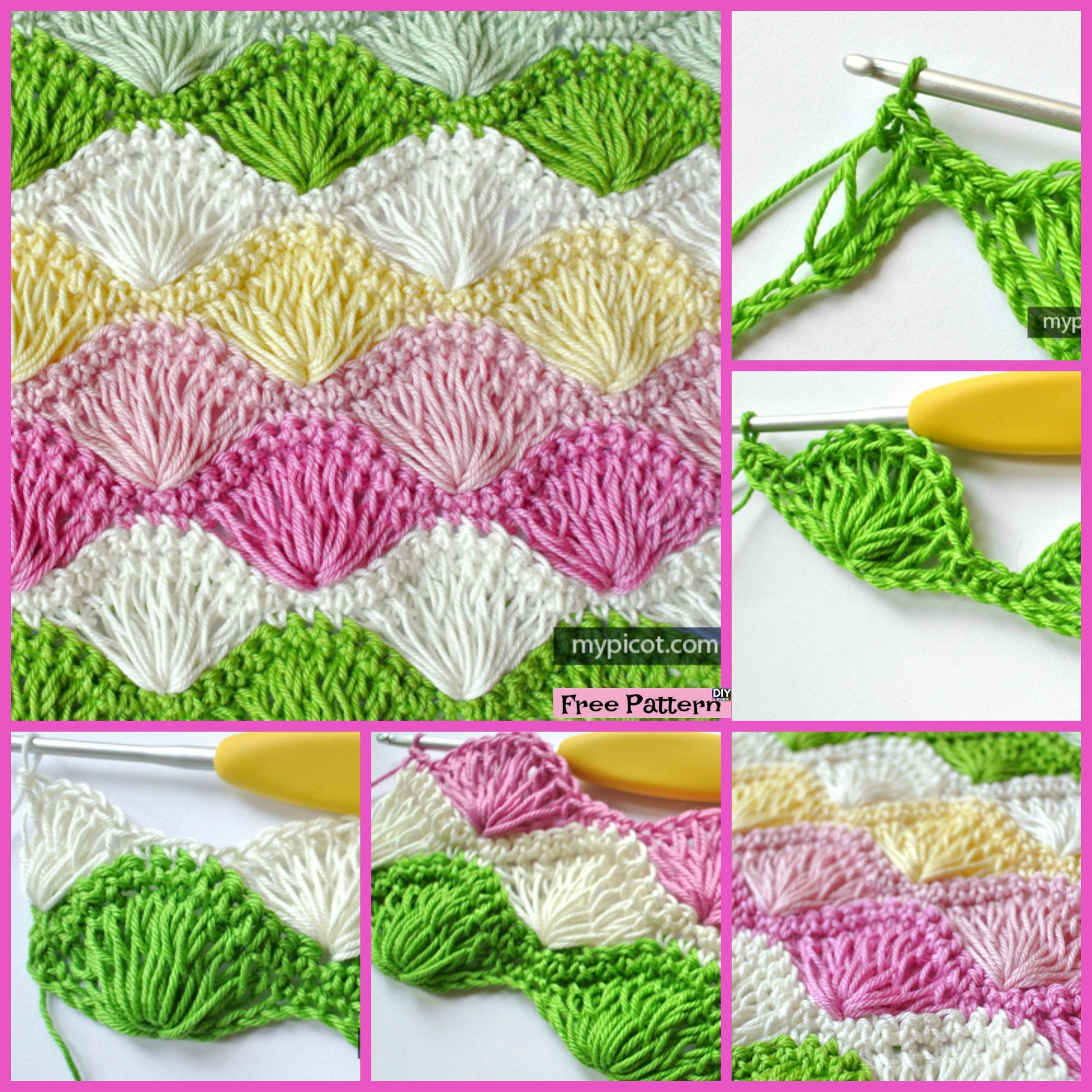 Long Loop Crochet Shell Stitch - Free Pattern | Handarbeiten, Häkeln ...