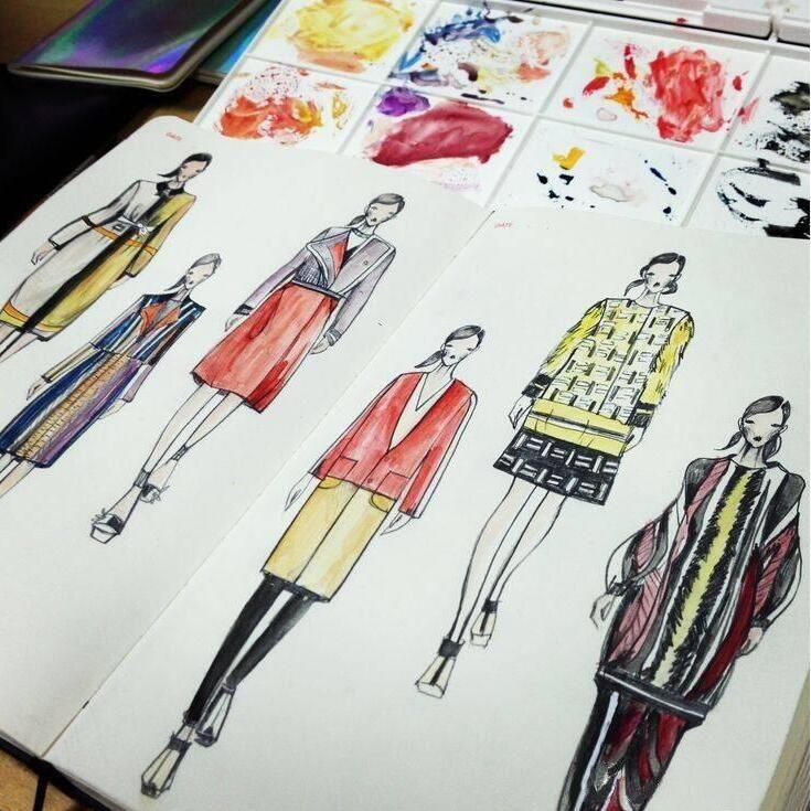 A5 Fashion Designer Notebook Marker Sketchbook Dotted line Body ...