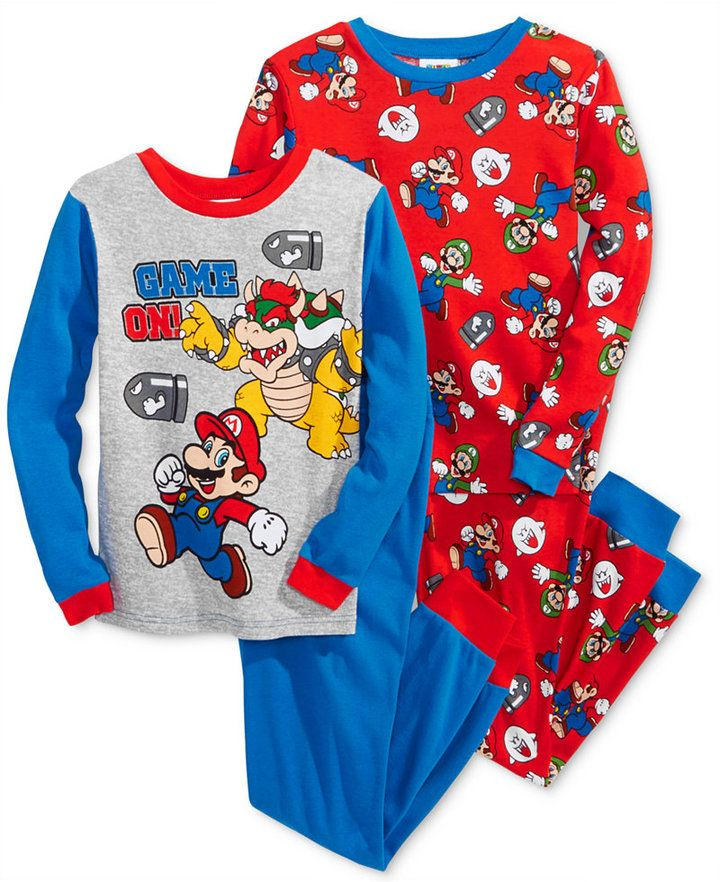 36dba793e4 Mario Bros. 4-Pc. Cotton Pajama Set, Little Boys (4-7) & Big Boys (8-20)